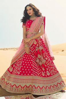 Pink Silk Zari Embroidered Lehenga Choli Set