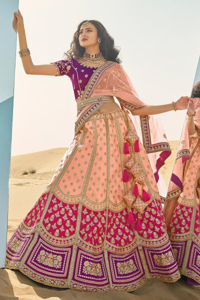 Peach and Pink Silk Zari Embroidered Lehenga Choli Set