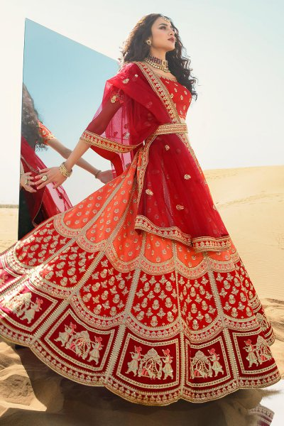 Red and Orange Silk Zari Embroidered Lehenga Choli Set