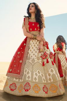 Red and Beige  Silk Zari Embroidered Lehenga Choli Set
