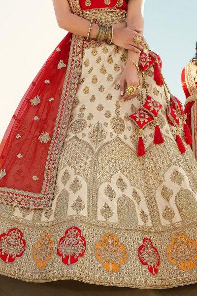 Red and Beige  Silk Zari Embroidered Lehenga Choli Set