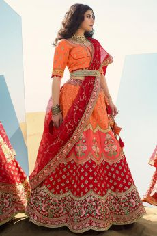 Orange and Red Silk Lehenga with Beautiful Embroidery