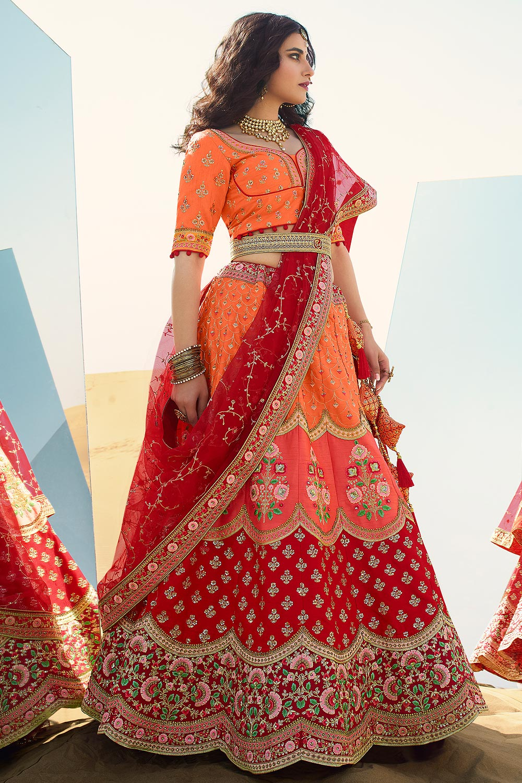 Orange and Red Silk Lehenga with Beautiful Embroidery
