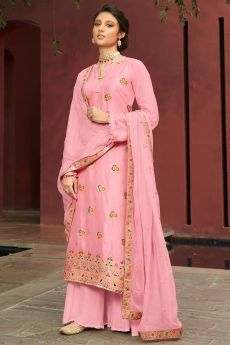 Pink Jacquard Silk Palazzo Suit