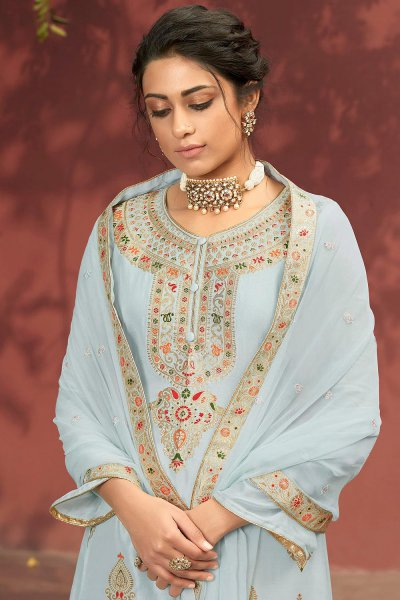 Light Steel Blue Jacquard Silk Palazzo Suit