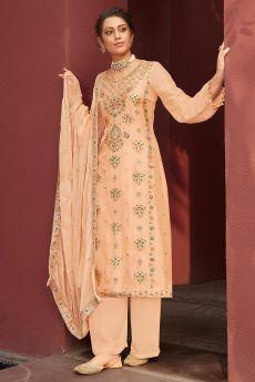 Peach Jacquard Silk Palazzo Suit