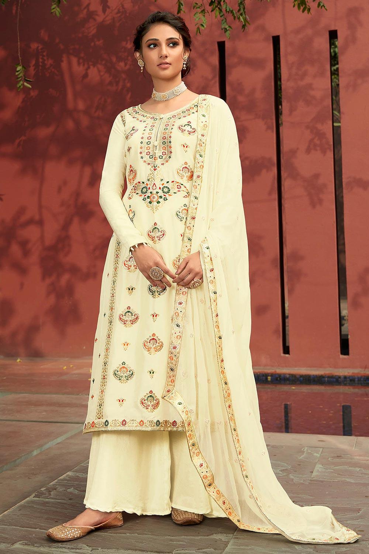 Cream Jacquard Silk Palazzo Suit