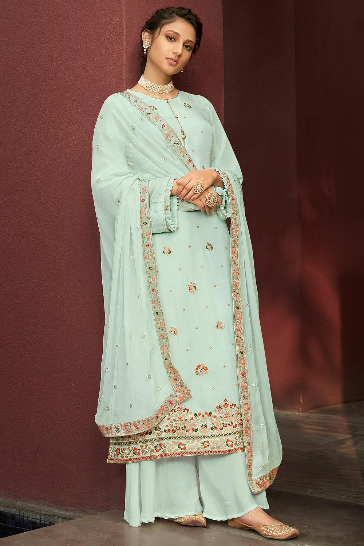 Mint Blue Jacquard Silk Palazzo Suit