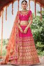 Hot Pink Silk Lehenga with Moti Detailing over Zari Work