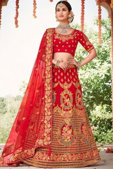 Graceful Red Zari Embroidered Silk Bridal Lehenga with Pearl Work Net Dupatta