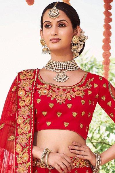 Graceful Red Zari Embroidered Silk Bridal Lehenga with Pearl Work Net Dupatta