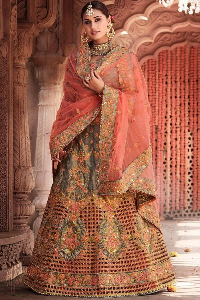 Peach and Grey Zari Embroidered Cut Work Silk Lehenga with Pearl Work Net Dupatta