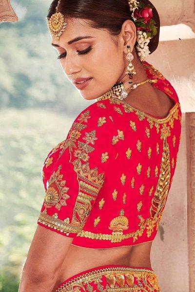 Red Zari Embroidered Bridal Lehenga in Silk