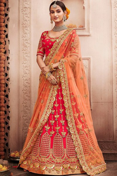 Red Zari Embroidered Wedding Lehenga in Silk