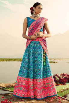 Blue Digital Printed Silk Lehenga Choli