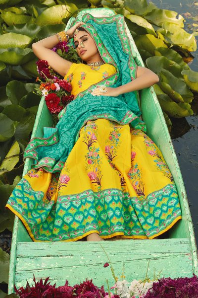 Yellow Digital Printed Silk Lehenga Choli