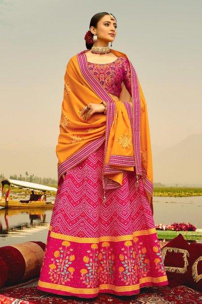 Pink Digital Printed Silk Lehenga Choli