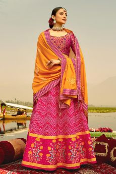 Pink Digital Printed Silk Lehenga Choli