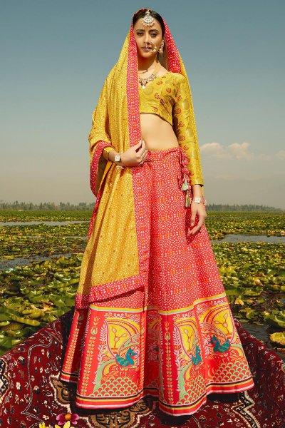 Red Digital Printed Silk Lehenga Choli