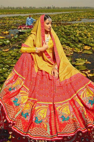 Yellow and Red Digital Printed Silk Lehenga Choli
