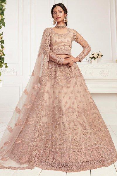 Designer Dusky Pink Embroidered Net Lehenga Choli