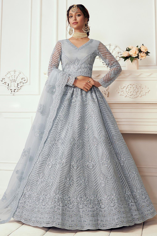 Steel Blue Beautiful Embroidered Indian Lehenga