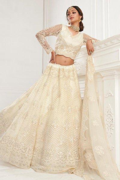 Off White Beautiful Embroidered Indian Lehenga