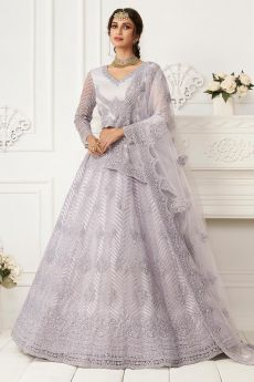 Pale Lavender Beautiful Embroidered Indian Lehenga