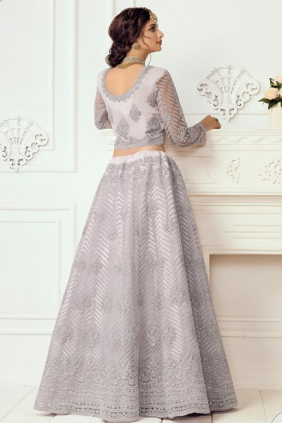 Pale Lavender Beautiful Embroidered Indian Lehenga