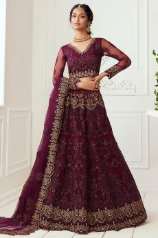 Plum Beautiful Embroidered Indian Lehenga in Net lined with Silk