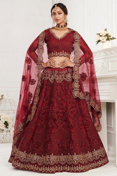 Maroon Beautiful Embroidered Indian Lehenga