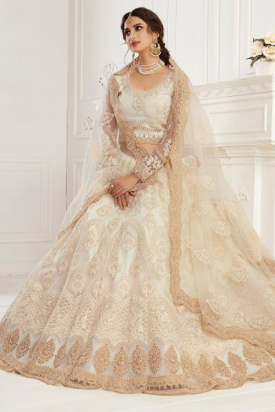 Off White Zari  Embroidered Bridal Wear Lehenga