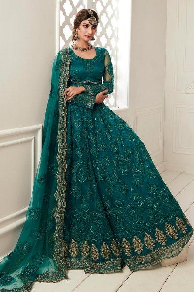 Teal Green Zari  Embroidered Bridal Wear Lehenga