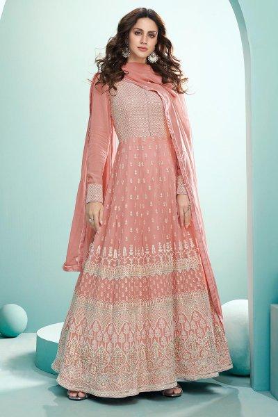 Blush Pink Resham Embroidered Georgette Anarkali Suit
