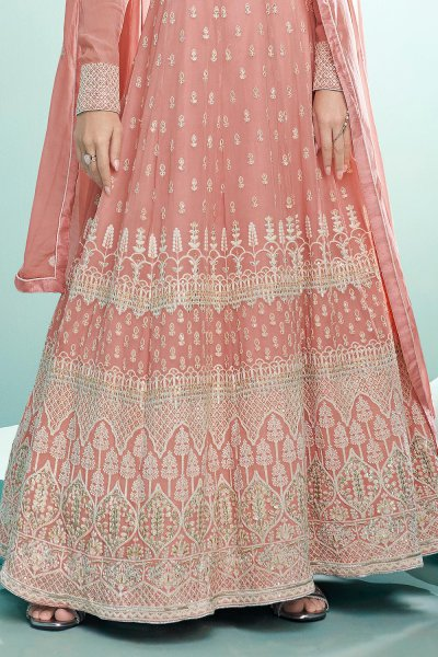 Blush Pink Resham Embroidered Georgette Anarkali Suit