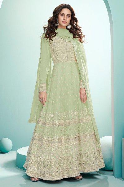 Green Resham Embroidered Georgette Anarkali Suit