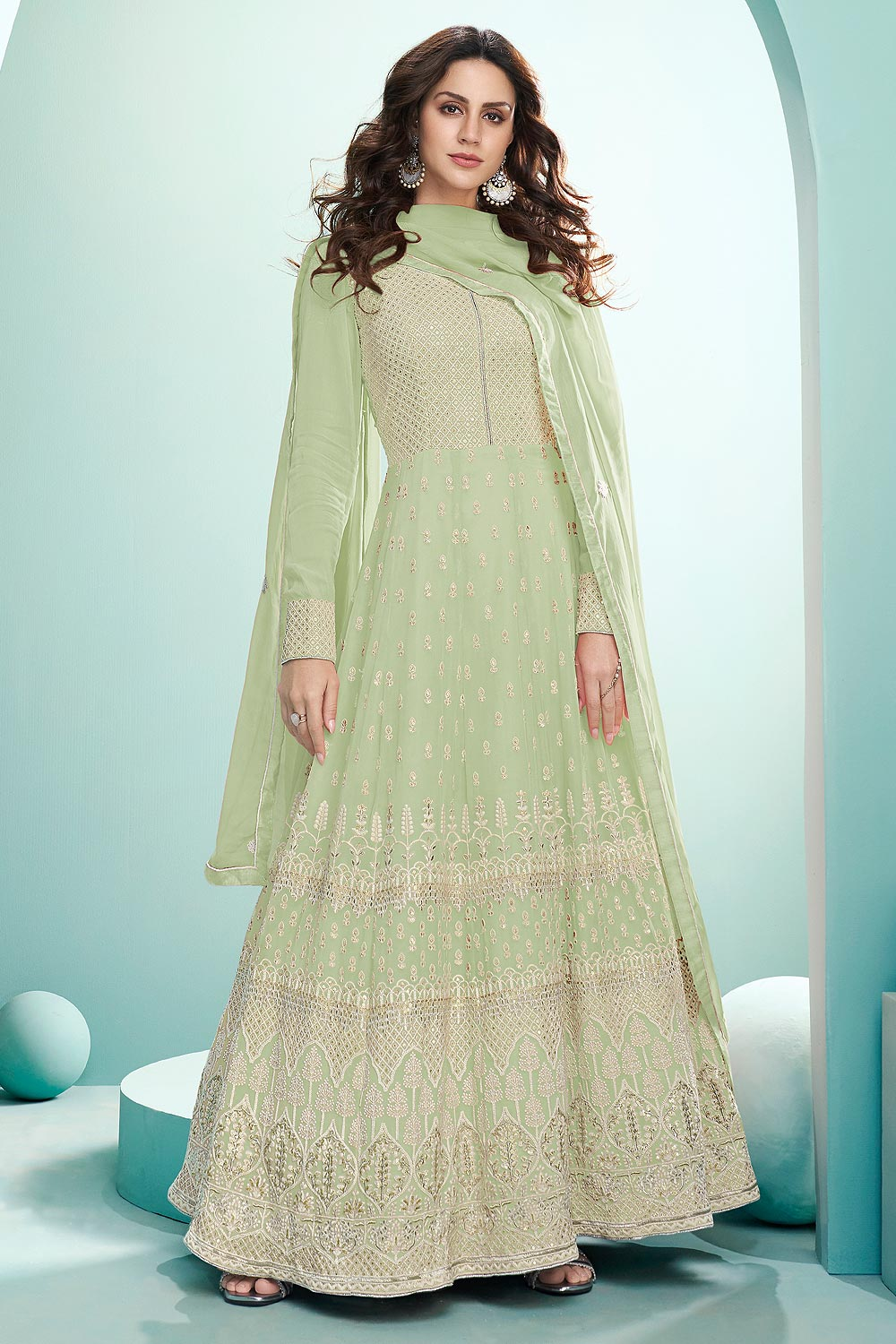 Green Resham Embroidered Georgette Anarkali Suit