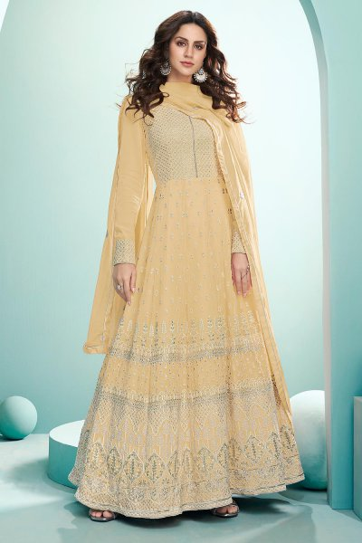 Pale Yellow Resham Embroidered Georgette Anarkali Suit
