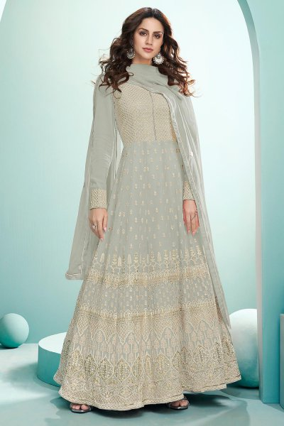 Pale Grey Resham Embroidered Georgette Anarkali Suit