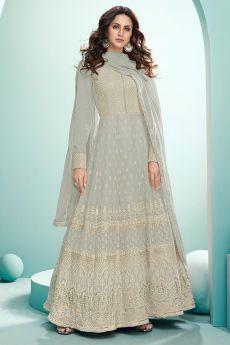 Pale Grey Resham Embroidered Georgette Anarkali Suit
