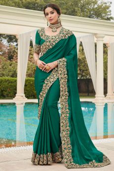 Teal Green Silk Saree