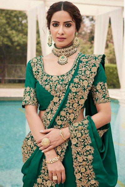 Teal Green Silk Saree