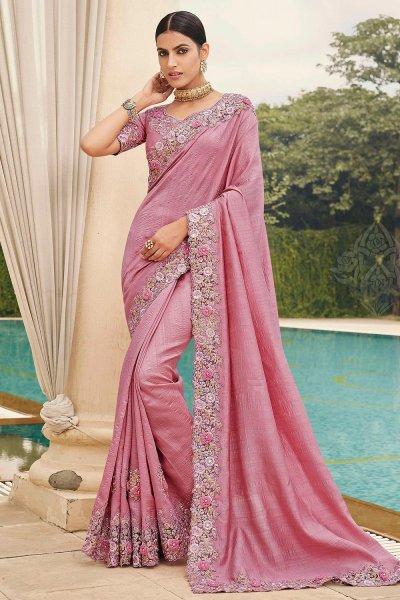 Dusky Pink Silk Saree