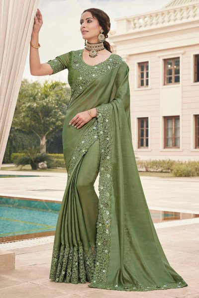 Olive Green Silk Saree