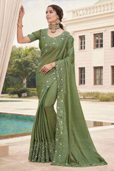 Olive Green Silk Saree