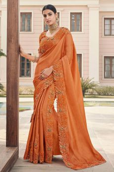 Burnt Orange Silk Saree