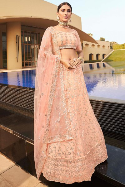 Peach Embroidered Lehenga Choli with Sequins work