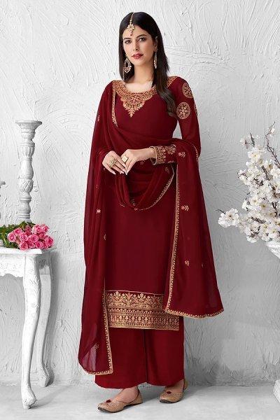 Maroon Georgette Embroidered Palazzo Suit