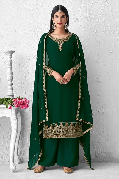 Green Georgette Embroidered Palazzo Suit
