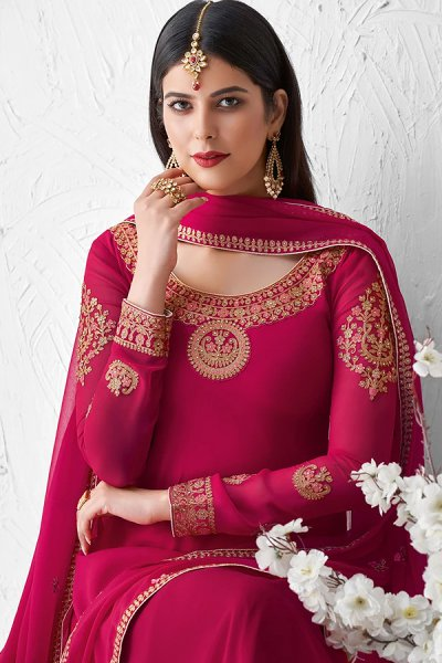 Pink Georgette Embroidered Palazzo Suit